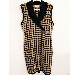 Calvin Klein Herringbone Sleeveless Sweater Dress
